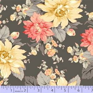 Dramatic Effects - Large Floral Dk Grey Base