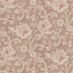 Stroll Along the Seine - Beige and Red Paisley