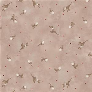 Stroll Along the Seine - Rose Buds on Taupe