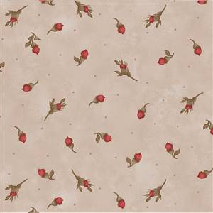 Stroll Along the Seine - Red Rose Buds on Beige