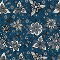 Floral - White Grey on Blue