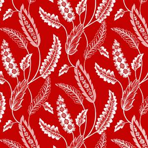 White Leaves on Red