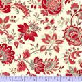Red Floral Jacobean Scroll on Off White