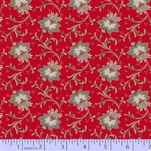 Medium Floral on Red