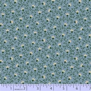 Cozies Flannel - Small Vine and Flower on Blue