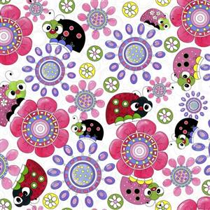 Lazy Little Ladybugs - Allover Large Print