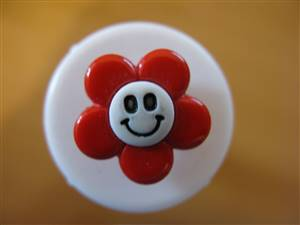 Red Flower Face Button