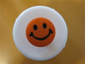 Bright Orange Round Smile Face Button