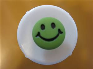 Lime Round Smile Face Button