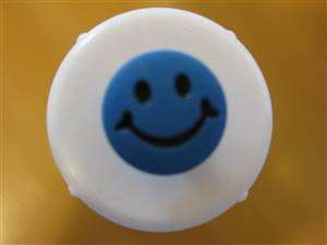 Turquoise Round Smile Face Button