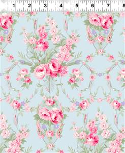 Emma's Garden - Medium Floral on Pale Blue