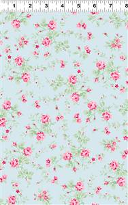 Emma's Garden - Small Floral on Pale Blue