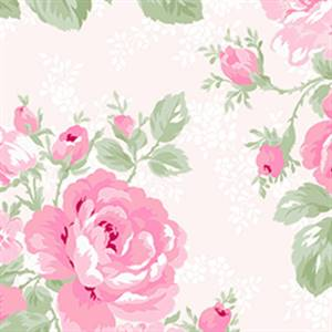 Emma's Garden - Large Floral on Pale Pink