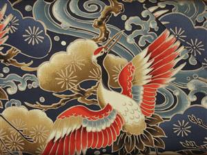 Oriental Cranes - Orange Taupe