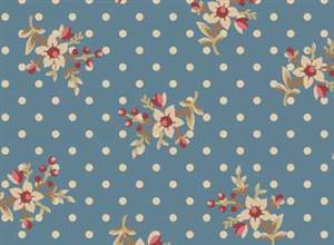 Bed of Roses - Rose on Blue with Dot