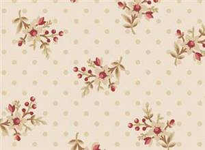 Bed of Roses - Rose on Ivory with Dot