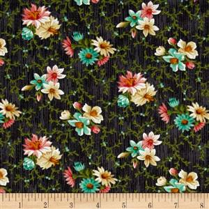Dk Grey Small Floral