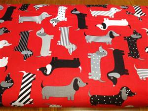 Urban Zoologie - Sausage Dogs on Red