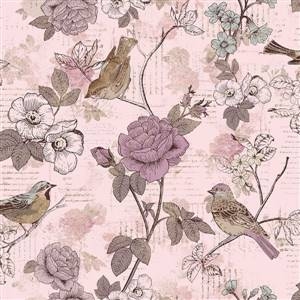 Aviary - Bird and Pink Floral