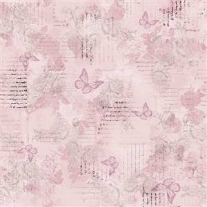 Aviary -  Butterflies and words on Pink