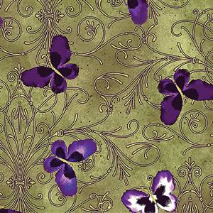 Pansy Noir - Pansy Butterfly Scroll Olive